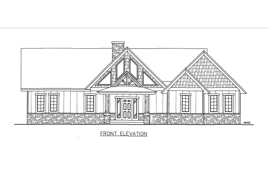 132-1542: Home Plan Front Elevation