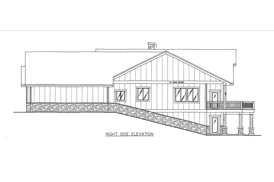 132-1542: Home Plan Right Elevation