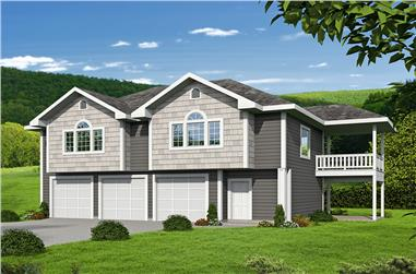 2-Bedroom, 1336 Sq Ft Garage w/Apartments House Plan - 132-1698 - Front Exterior