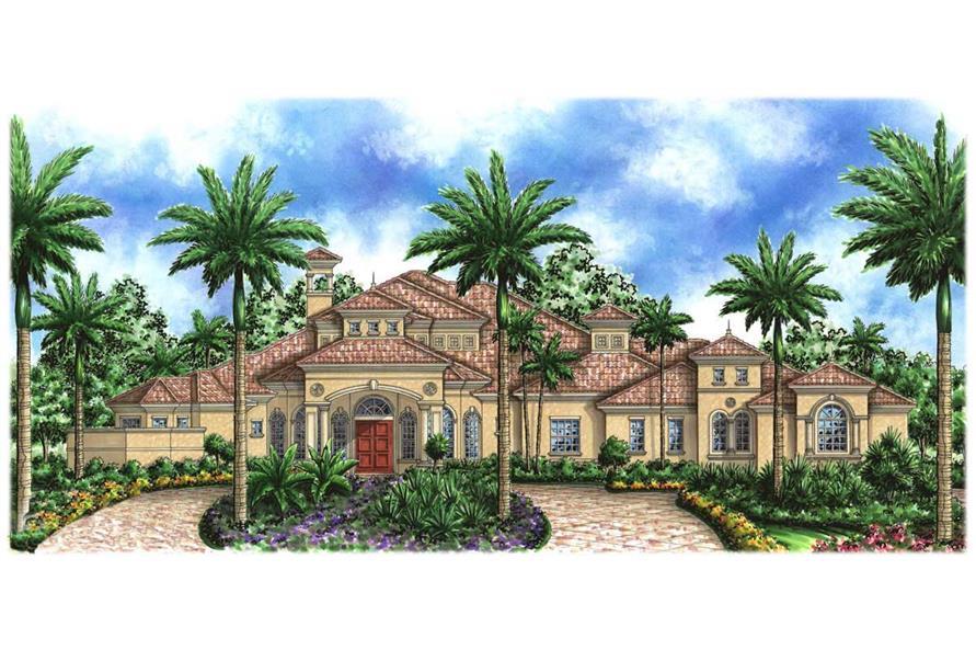 Luxury House Plans color elevation.