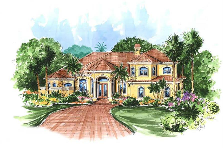 This image shows the front elevation for these Mediterranean House Plans, Florida House Plans, Spanish House Plans.