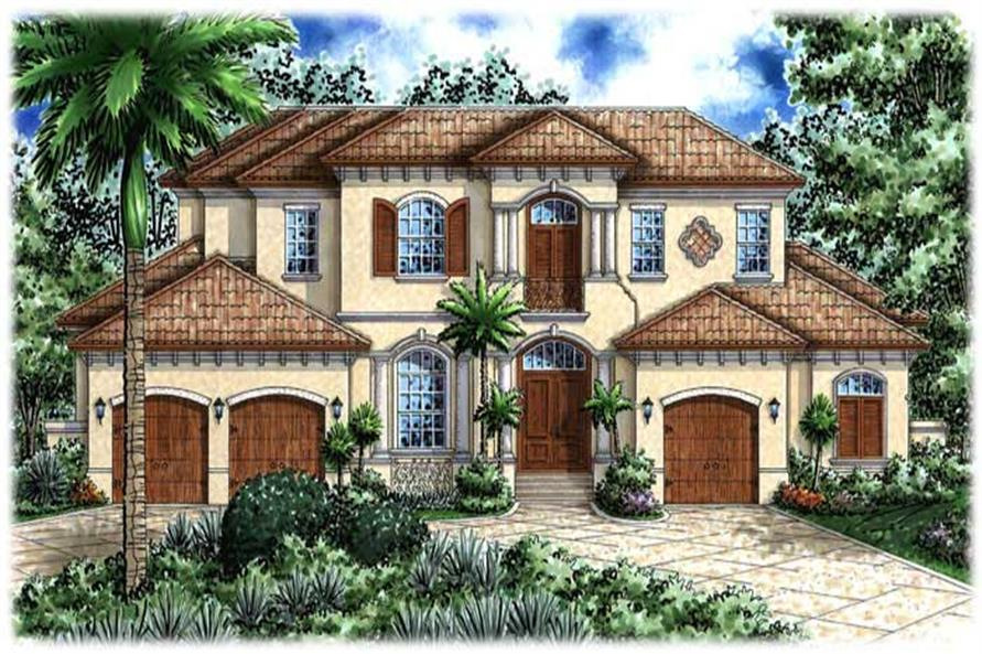 This image shows the Mediterranean style for these house plans.