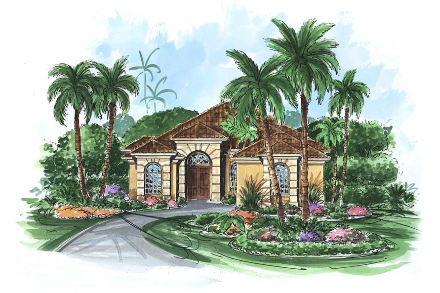 This image shows the Mediterranean style for this set of house plans, Florida House Plans.