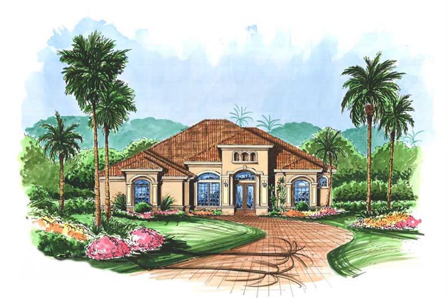 Mediterranen House Plans color rendering.
