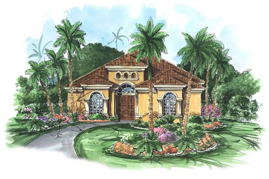Main image for house plan # 11523, Mediterranean Home Plans, Florida Designs.
