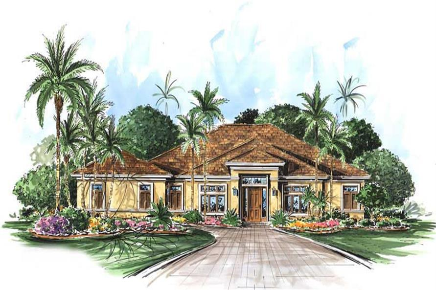 This image shows the front elevation for this set of Mediterranean House Plans