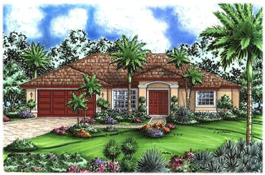 3-Bedroom, 1565 Sq Ft Florida Style House Plan - 133-1085 - Front Exterior