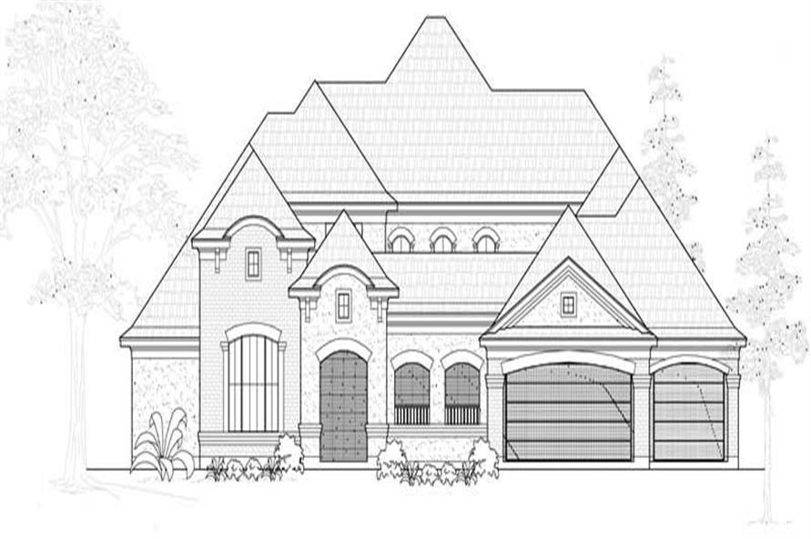 134-1000: Home Plan Front Elevation