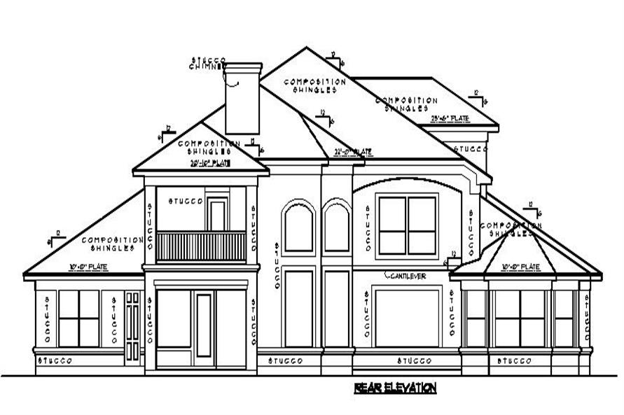 134-1067: Home Plan Rear Elevation