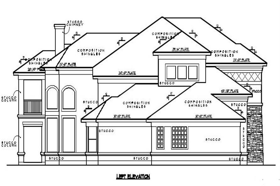134-1067: Home Plan Left Elevation