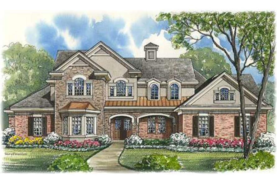 Front elevation of Luxury home (ThePlanCollection: House Plan #134-1114)