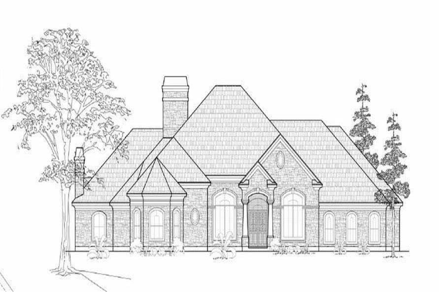 This is a black and white front elevation of these European Home Plans.