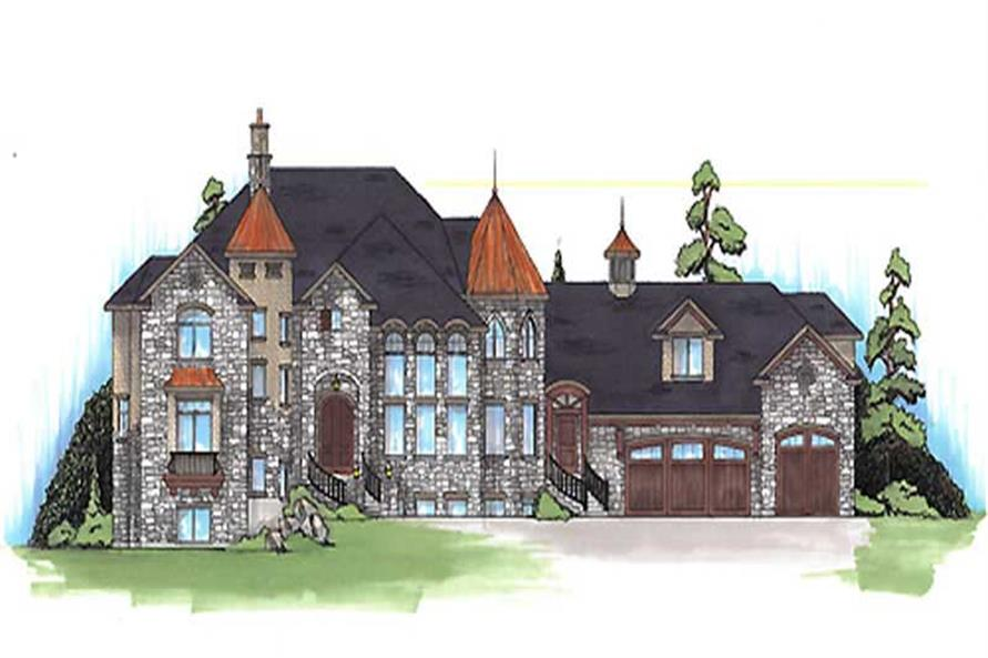 Luxury house plans TS5561 color front rendering.