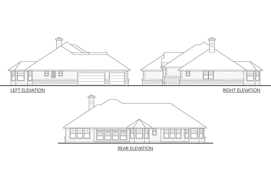136-1002: Home Plan Rear Elevation