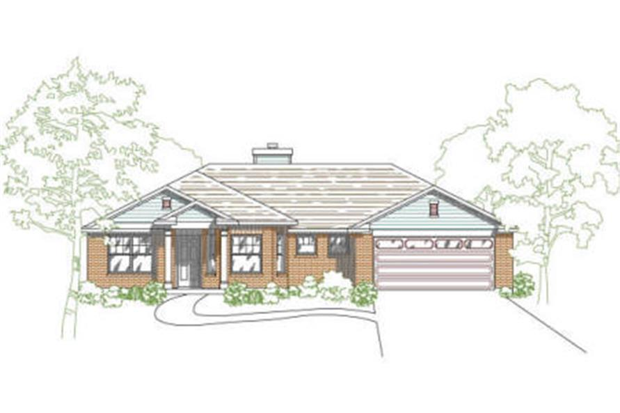 136-1013 house plan front rendering