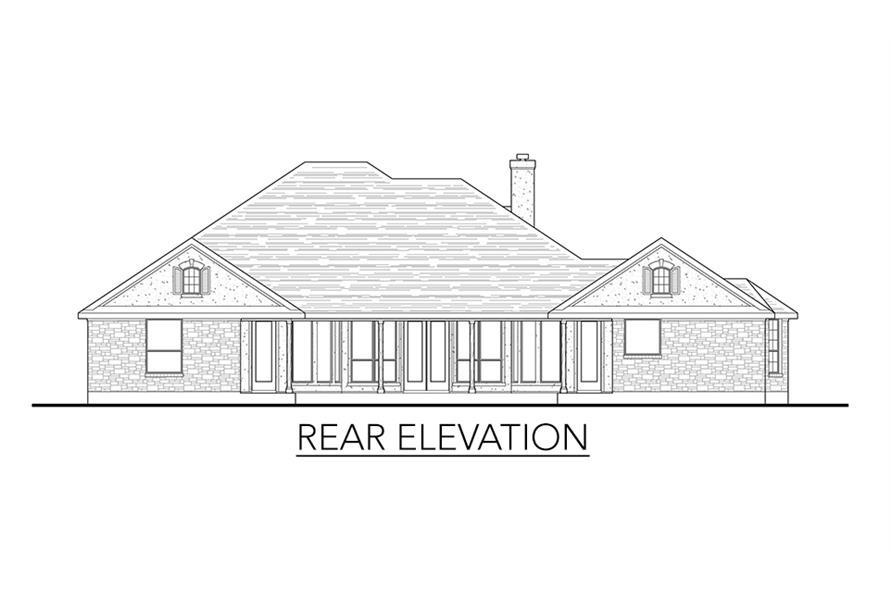 136-1037: Home Plan Rear Elevation