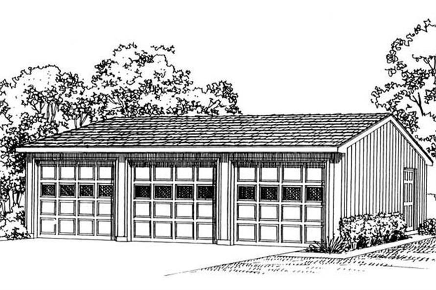 Rendering of Garage plan (ThePlanCollection: House Plan #137-1017)