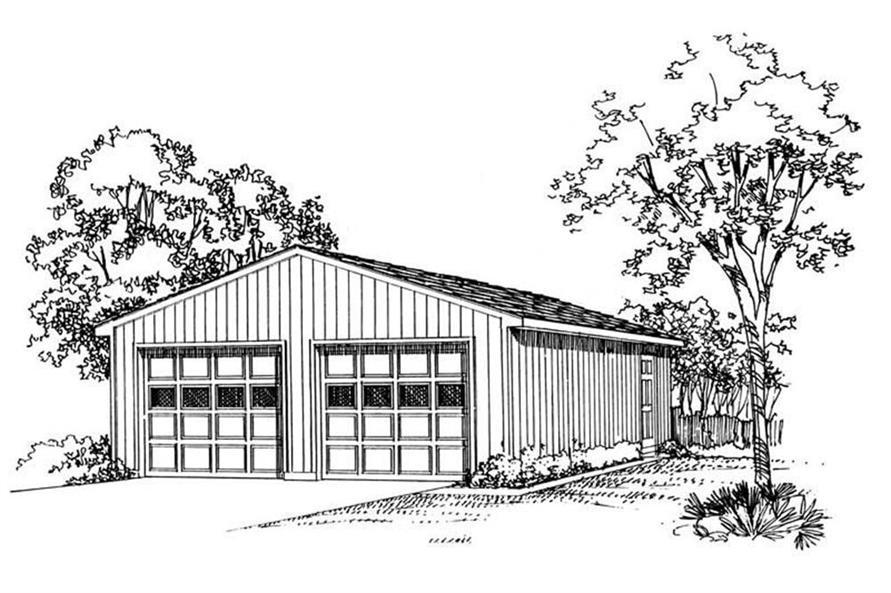 Rendering of Garage plan (ThePlanCollection: House Plan #137-1518)