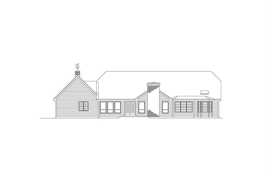 138-1009: Home Plan Rear Elevation