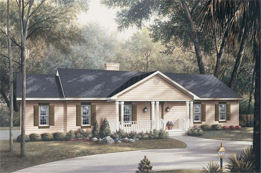 Front elevation of Traditional home (ThePlanCollection: House Plan #138-1012)