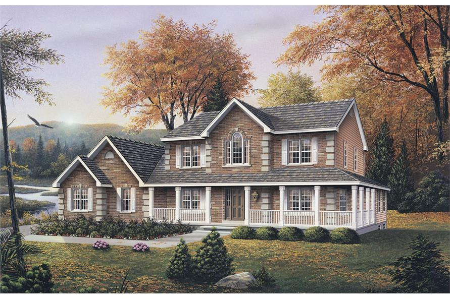 Front elevation of Traditional home (ThePlanCollection: House Plan #138-1028)