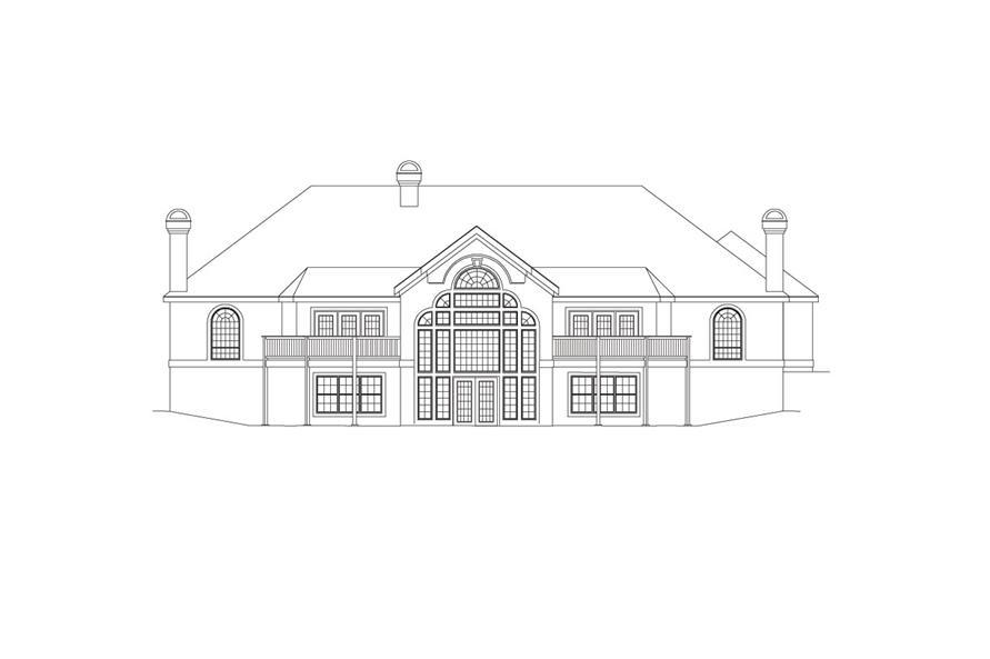138-1033: Home Plan Rear Elevation