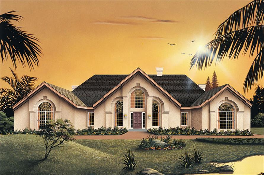 Front elevation of Ranch home (ThePlanCollection: House Plan #138-1033)