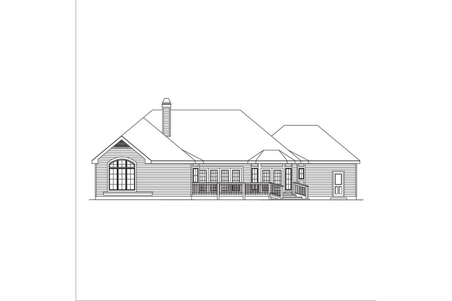 138-1039: Home Plan Rear Elevation
