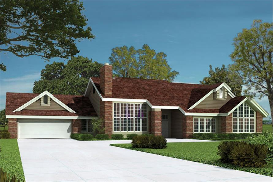 Front elevation of Contemporary home (ThePlanCollection: House Plan #138-1043)