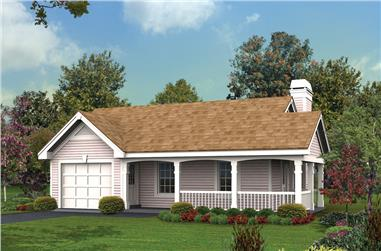 1-Bedroom, 480 Sq Ft Cottage Home Plan - 138-1173 - Main Exterior