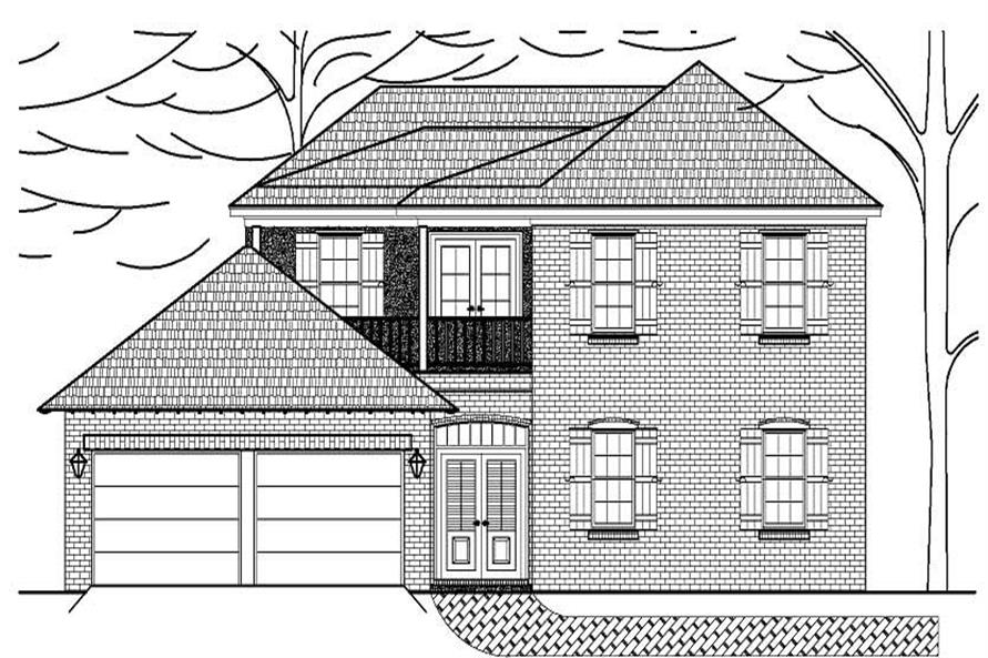 This is a black and white elevation of these Houseplans.