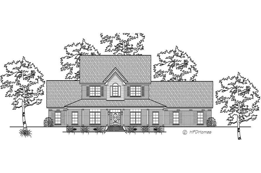 This is a black and white front elevation of these Victorian Farmhouse Country Houseplans.