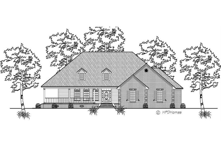 This is a black and white front elevation of these Country House Plans.