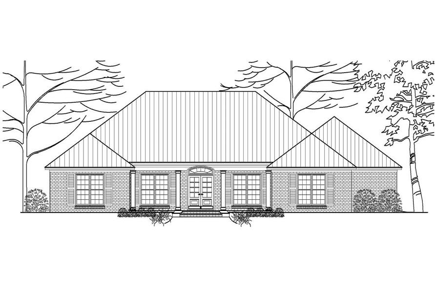 This is a black and white rendering of these Traditional Houseplans.