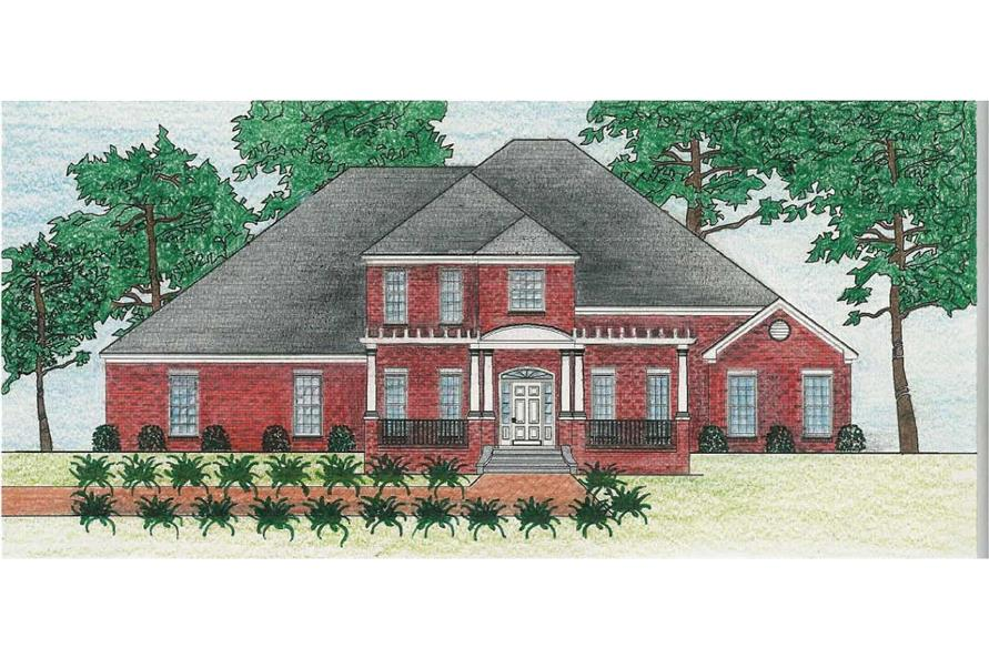 This is a colored rendering of these Southern House Plans.