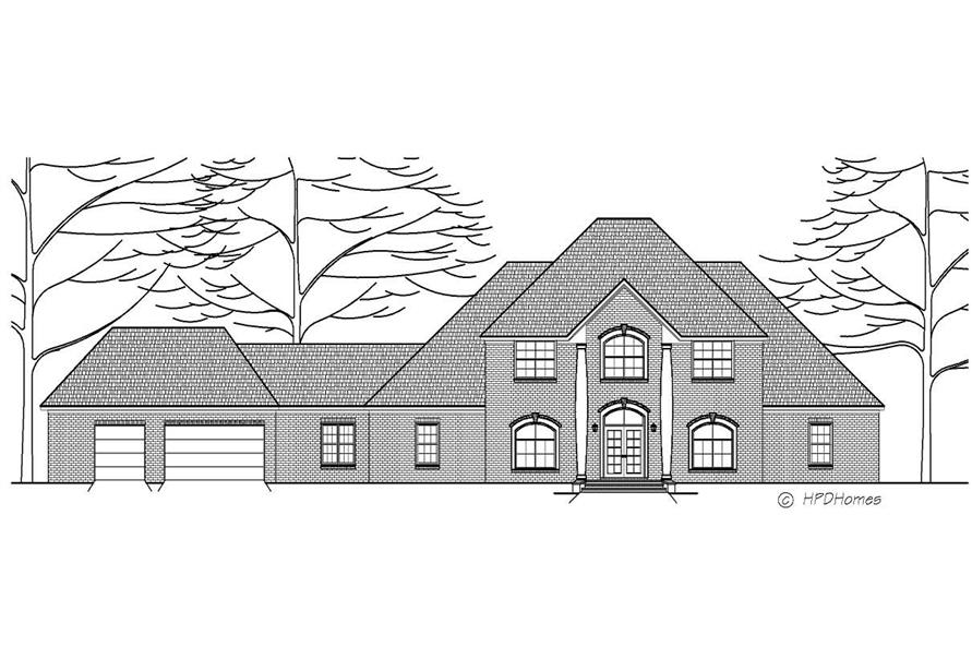 This is a black and white front elevation of these Luxury House Plans.
