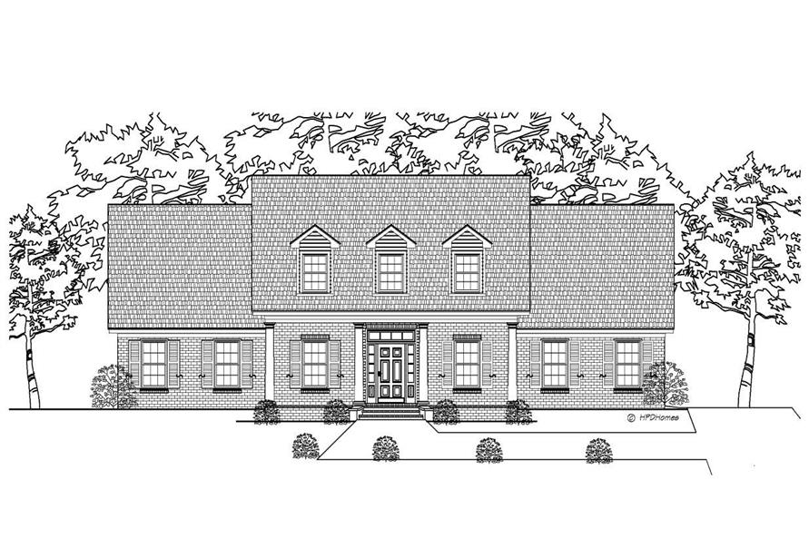 This image shows the front of these Country Houseplans.