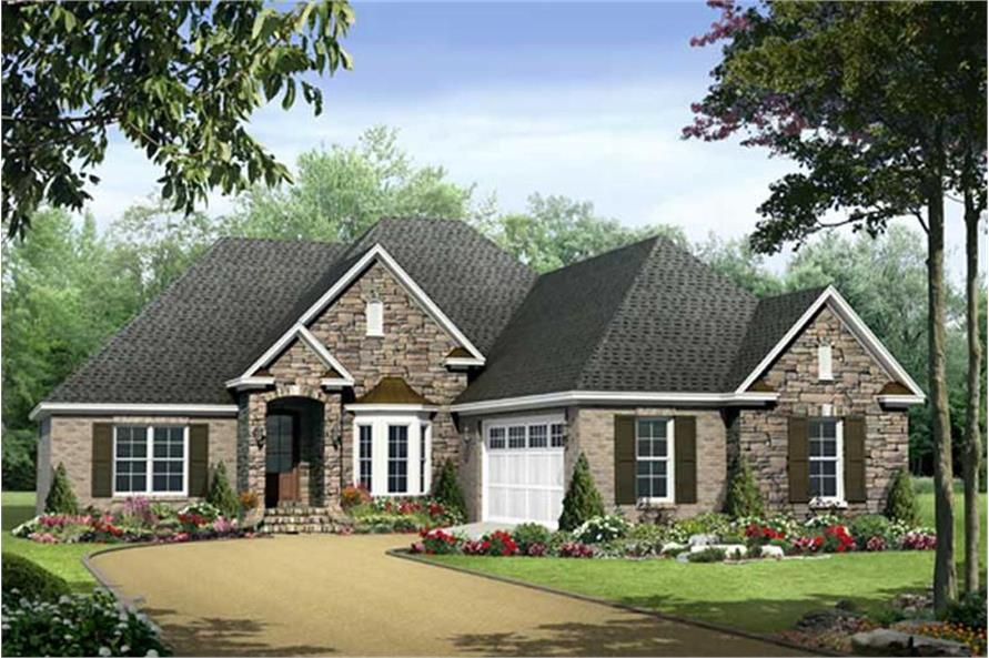 Color rendering of Country home plan (ThePlanCollection: House Plan #141-1029)