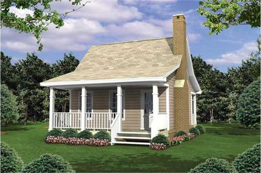 Color rendering of Country home plan (ThePlanCollection: House Plan #141-1076)