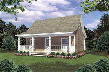2-Bedroom, 800 Sq Ft Country House Plan - 141-1078 - Front Exterior