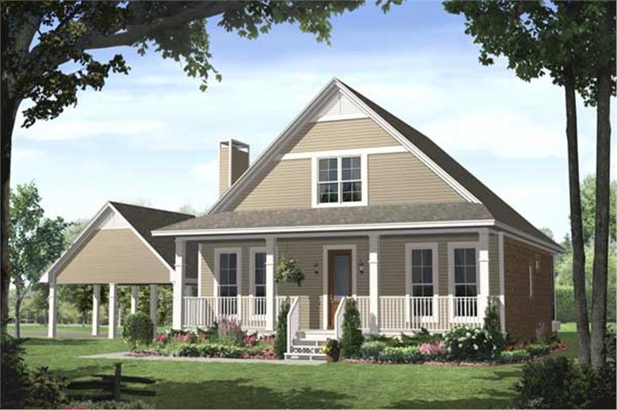 This is a Front Elevation rendering of these Traditional Country Homeplans.