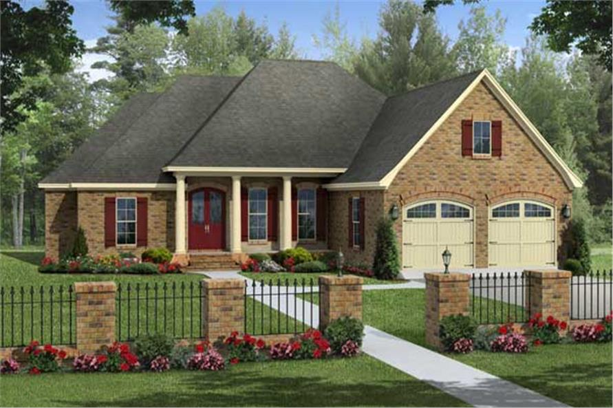 Here we see a front elevation of these European Country House Plans.