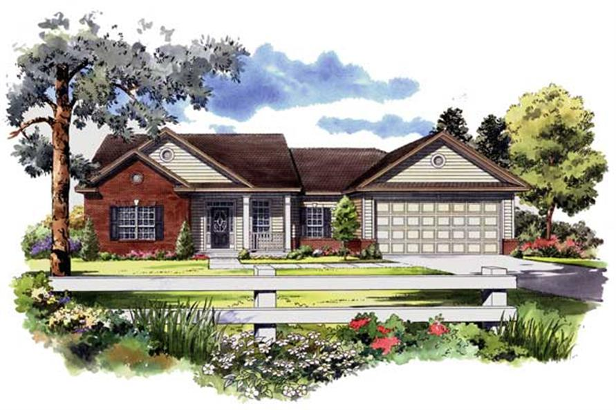 Here you go, a hand-drawn rendering of a lovely Ranch Houseplan.