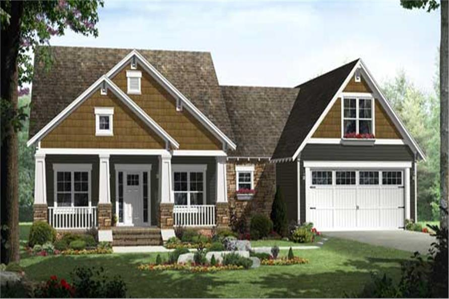 Charming rendering of this Craftsman Home Plan #141-1115.