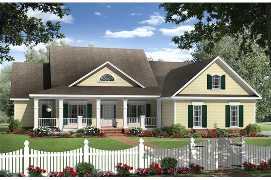 Color rendering of Farmhouse Home Plan #141-1131.