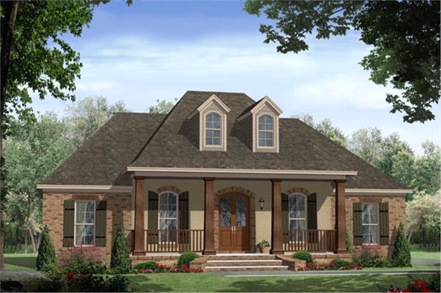 Color illustration Acadian house plan #141-1148