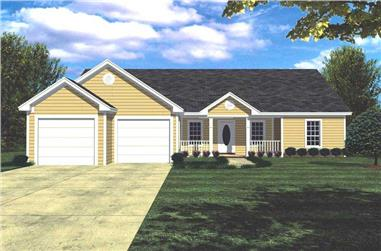 3-Bedroom, 1400 Sq Ft Country House Plan - 141-1152 - Front Exterior