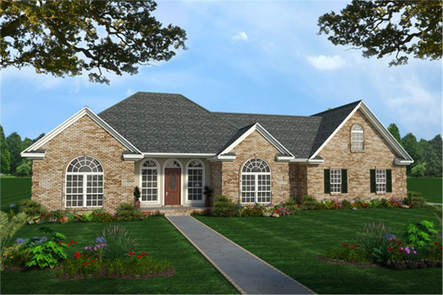 Color rendering of Country home plan (ThePlanCollection: House Plan #141-1158C