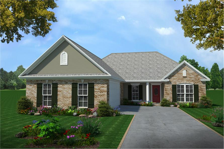 Color rendering of European home plan (ThePlanCollection: House Plan #141-1185)