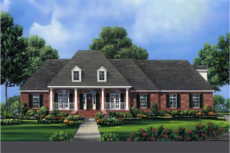 Color rendering of Acadian home plan (ThePlanCollection: House Plan #141-1204)